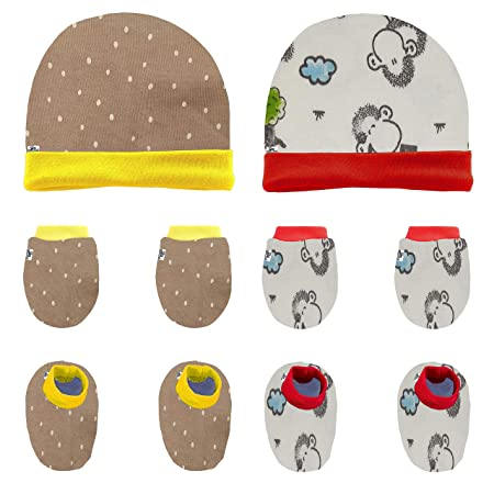 Supersoft multicoloured hat and booties 0-3 months