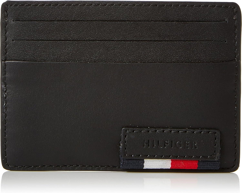 7x1x10 cm B x H T Card Cases Black Noir Tommy Hilfiger Branded Leather Cc Holder homme Porte-cartes didentit/é