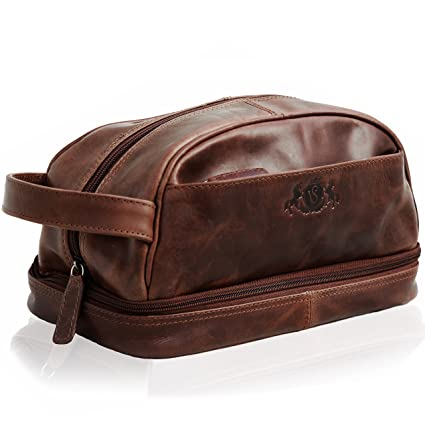 7131e5d8f4 SID   VAIN Real Leather wash Bag Alex Large Travel Overnight Wash Gym  Shaving Bag for Men s Or Ladies Toiletry Bag Leather Bag Men Brown   Amazon.co.uk  ...