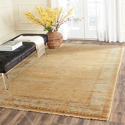 Safavieh Oushak Collection OSH145B Hand-Knotted Gold and Ivory Wool Area Rug 10' x 14'