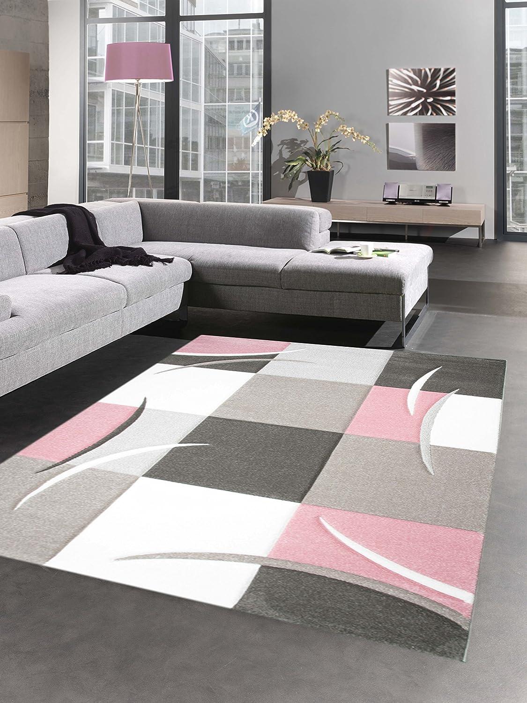 Désign tapis karo pastel rose crème taupe