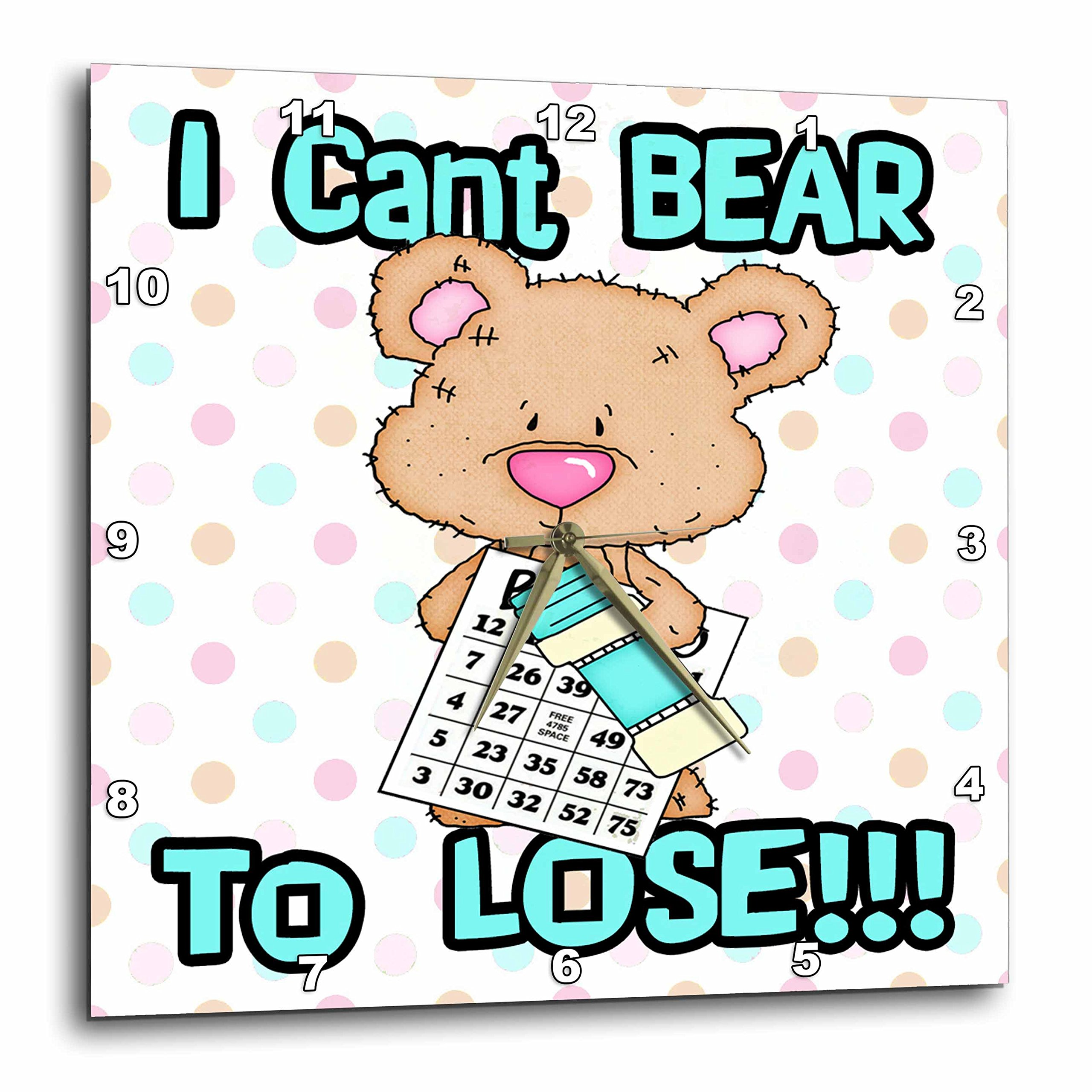 3dRose dpp_104462_3 Cant Bear to Lose Cute Little Bingo Bear-Wall Clock, 15 by 15-Inch by 3dRose