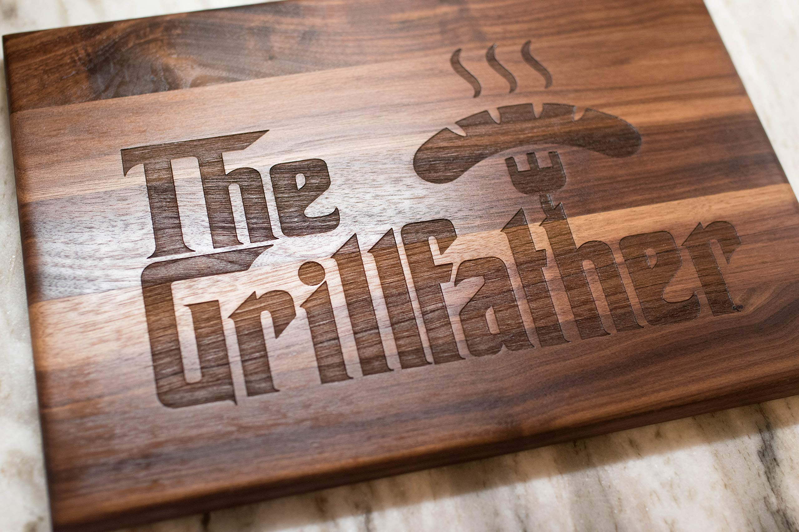 Father's Day Gift for Dad - USA Made Walnut Wood Cutting Board - The Grillfather Cutting Board is a perfect gift for Dad, Stepfather gift, and grandfather gift.