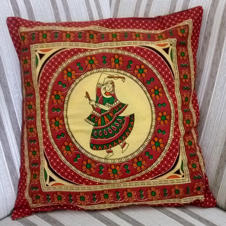 griihamブラウンGujrati Dancing Lady Rajasthani Indian従来印刷クッションカバーサイズ16 x 16インチ( 40 x40 CM with Flaps  B0767J286P