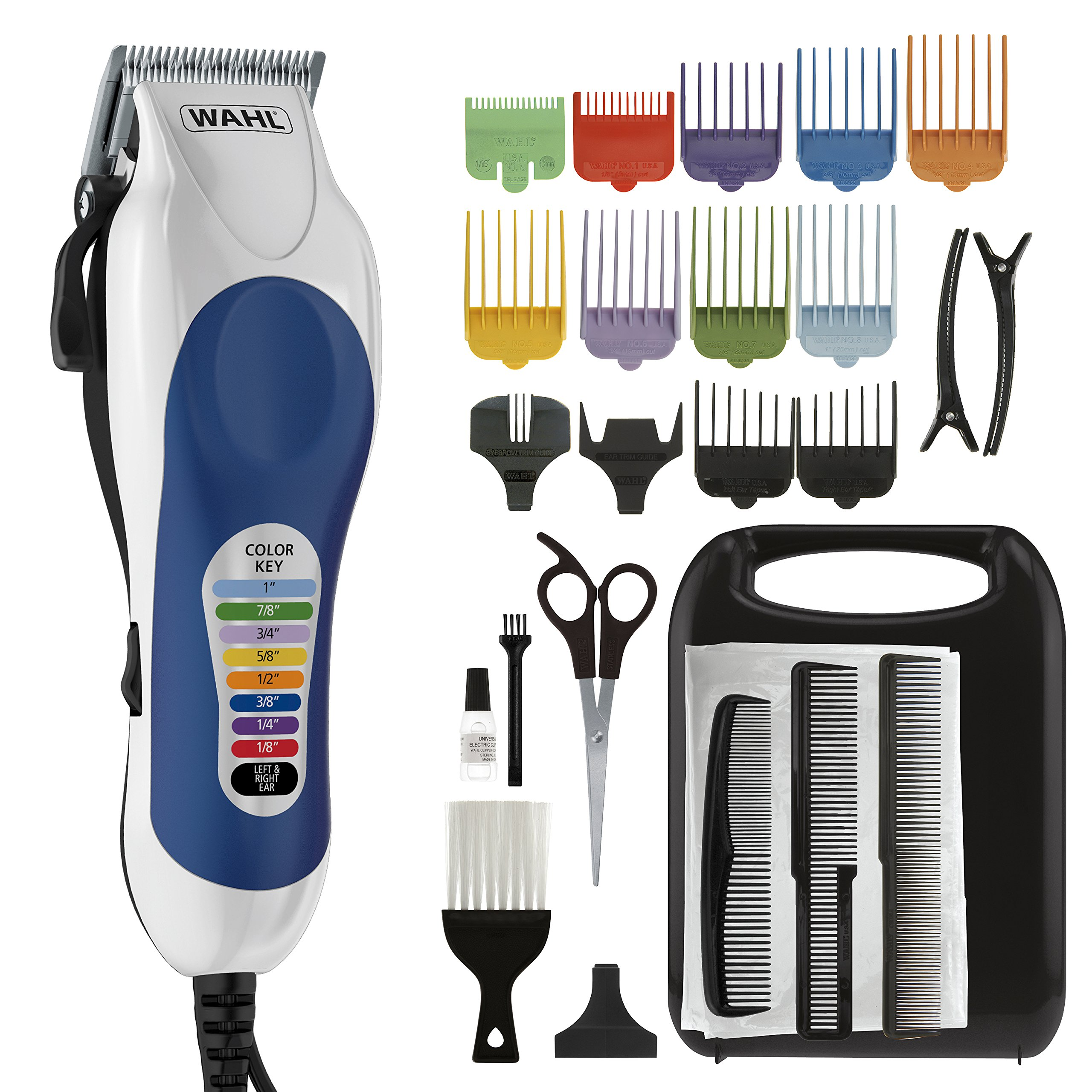 Wahl Color Pro Complete Hair Cutting Kit with Extended Accessories & Cape, Includes Color Coded Guide Combs and Color Coded Hair Length Key, Styling Shears, and Combs for Home Styling,79300-1001 by WAHL