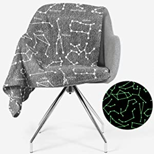 Constellation Blanket Glow in the Dark | Super Soft Space Theme Decor | Has All Zodiac Horoscope Signs in the Galaxy | Great Gift for Solar System, Stargazers, Astronomy, Astrology, & Astronaut Lovers