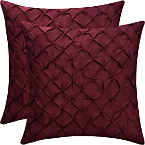The White Petals Maroon Throw Pillow Covers (Faux Silk, Pinch Pleat, 18x18 inch, Pack of 2)