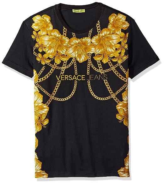 a18197e6 Versace Jeans Men's Gold Chain Versace T-Shirt, Nero, X-Large:  Amazon.co.uk: Clothing