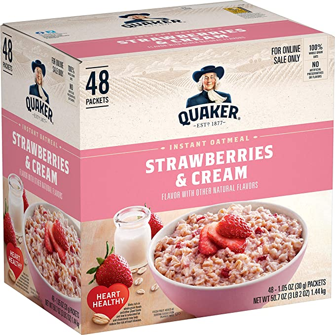 Amazon.com: Quaker Instant Oatmeal, Strawberries and Cream, Individual Packets, 48 Count