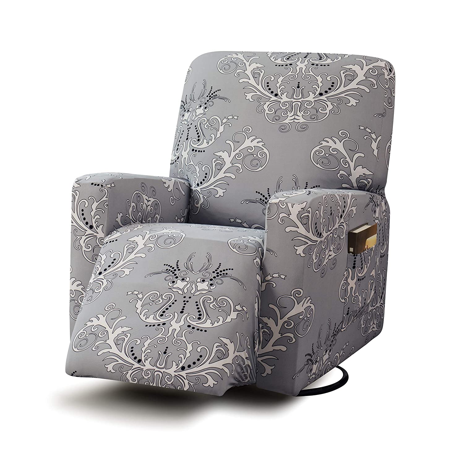 Remarkable Tikami Stretch Printed Recliner Chair Covers Washable Sofa Slipcovers Furniture Protector With Remote Pocket For Pets And Kids Gray Print Ibusinesslaw Wood Chair Design Ideas Ibusinesslaworg