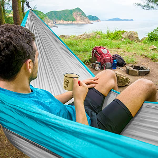 ErgaLogik Tree Friendly Double Nest Camping Hammock w Premium Hammock Straps