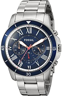 amazon com fossil men s fs4736 grant stainless steel watch fossil mens fs5238 grant sport chronograph stainless steel watch