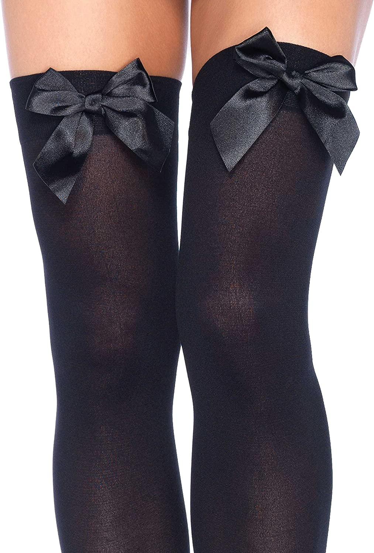 Leg Avenue Womens Satin Bow Accent Thigh Highs