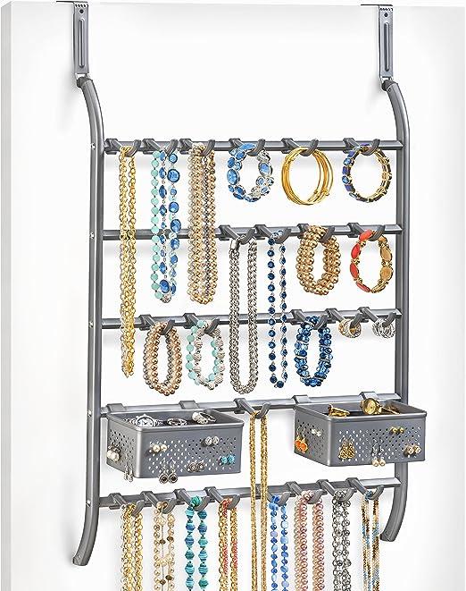 Lynk Over Door Or Wall Mount Jewelry Organizer Rack Platinum Amazon Ca Home Kitchen