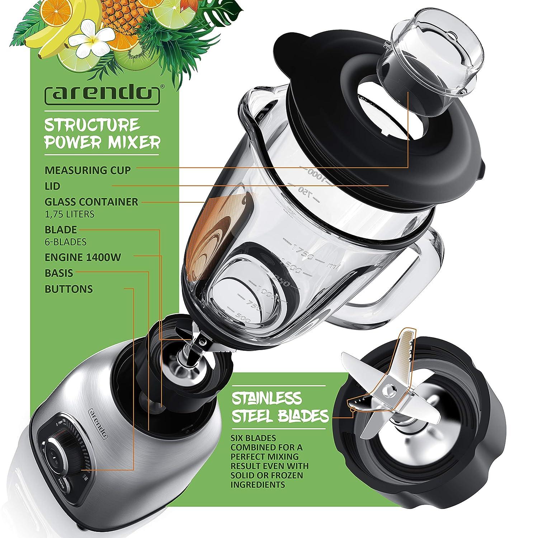 arendo - Power Mixer 1400 Watt Batidora de Vaso de Acero ...