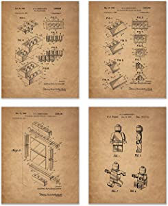 Lego Patent Art Prints - Set of 4 Photos - Toy Game Room Wall Decor