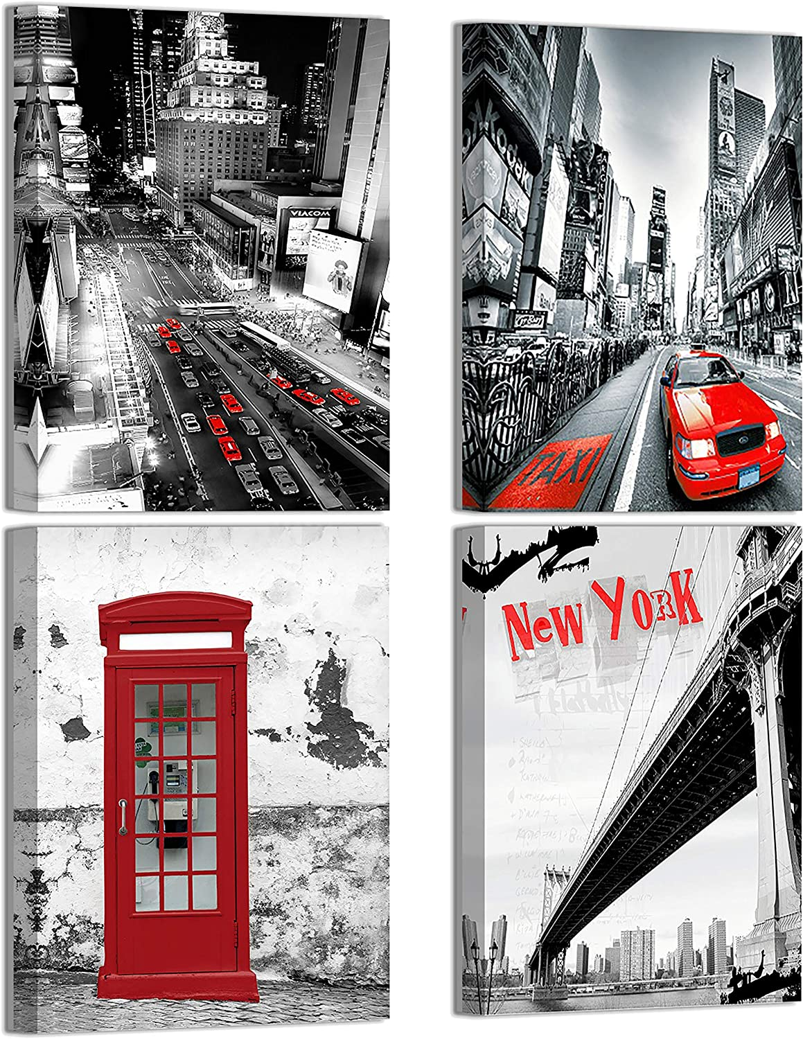 ARMART Black and Red New York Cityscape Pictures for Bedroom Wall Decor Red City Skyline Prints Canvas Artwork Kitchen Wall Decorations in 4 Panels 12×16inch