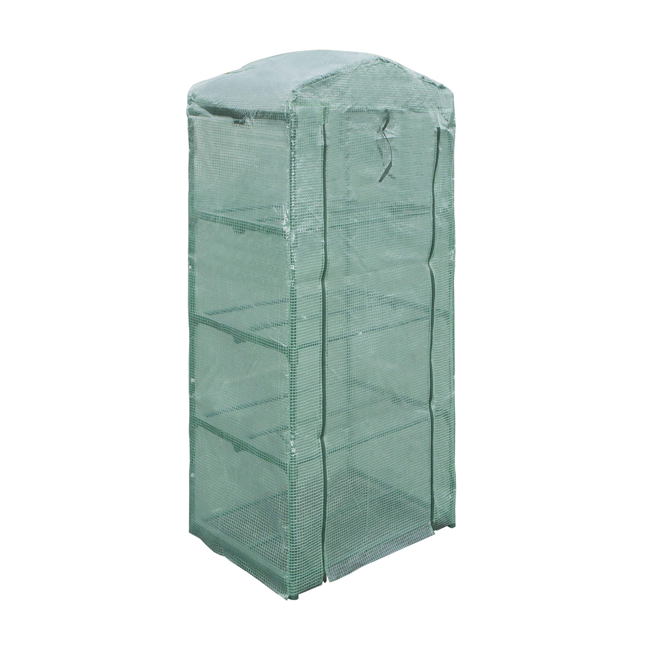 ALEKO GH27X19X63 Green Waterproof PE Mesh Cloth 4 Tier Plant Garden Outdoor Greenhouse Shed, 27'' L x 19'' H x 63'' W