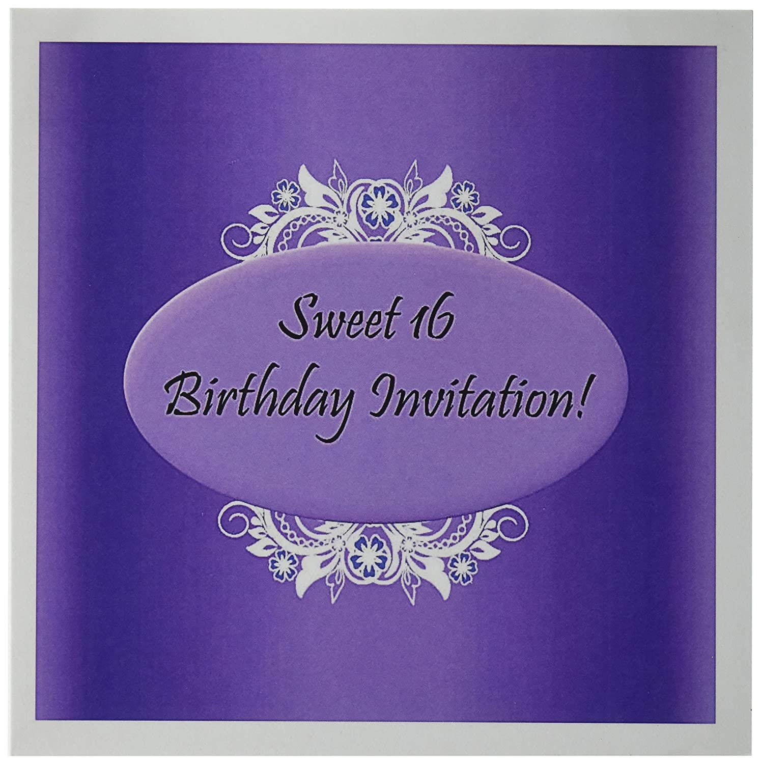 Amazon 3dRose Purple Sweet 16 Birthday Invitations 6 X Inches Greeting Cards Set Of 12 Gc 38829 2 Blank Office Products