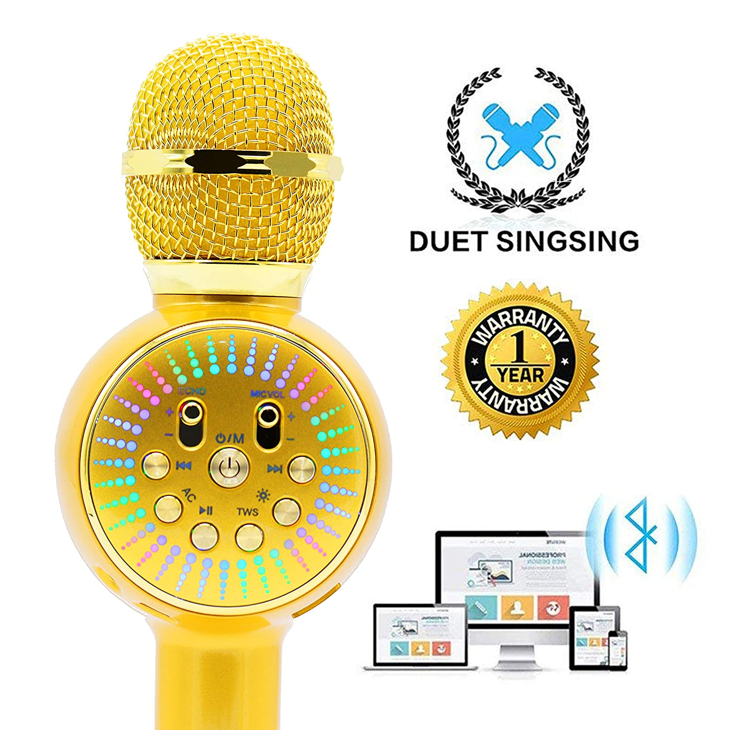 Sanovo 2019 Wireless Karaoke Microphone Speaker With LED lights 3-in-1 Portable Hand Microphone For Kids Gift Party iPhone iPad Android Smartphone Smart TV Home KTV Pink