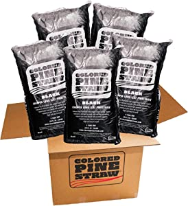 Longleaf Pine Straw - Mulch - Colored Black - 5 Bags per Box 100-140 Sq. Ft.