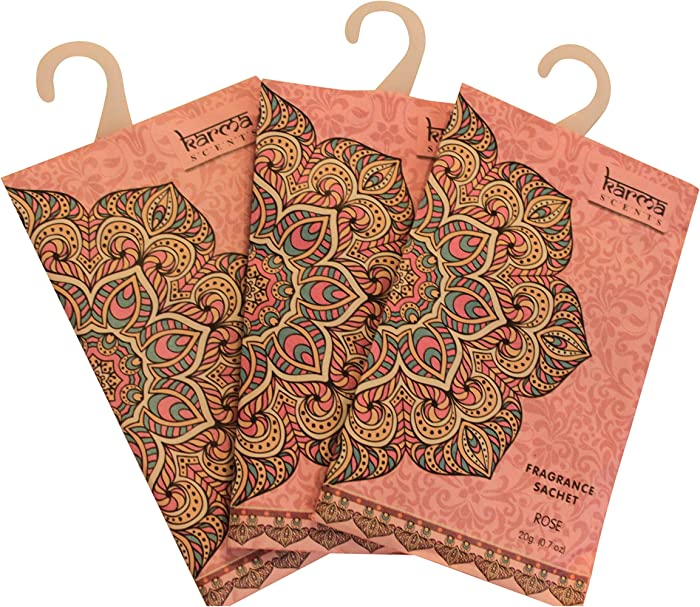 Karma Scents Premium Rose Scented Sachets for Drawers, Closets, and Cars, Lovely Fresh Fragrance, Lot of 12 Bags