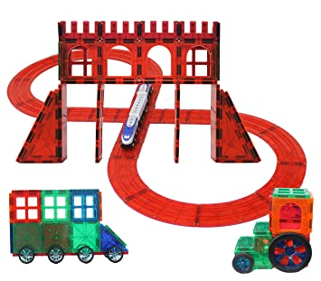 Magnetic Stick N Stack 5 In 1 100 Piece Large Clear Train Tracks Set Wooden