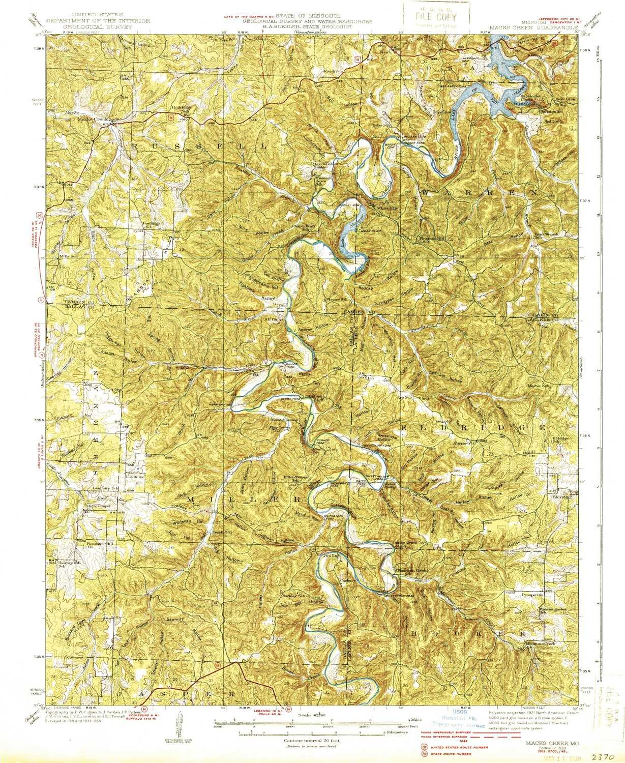 Amazon Com Yellowmaps Macks Creek Mo Topo Map 1 62500 Scale 15 X