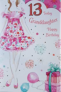 Granddaughter 13 13th Happy Birthday Girl Present Design Good Quality Card With A Lovely Verse