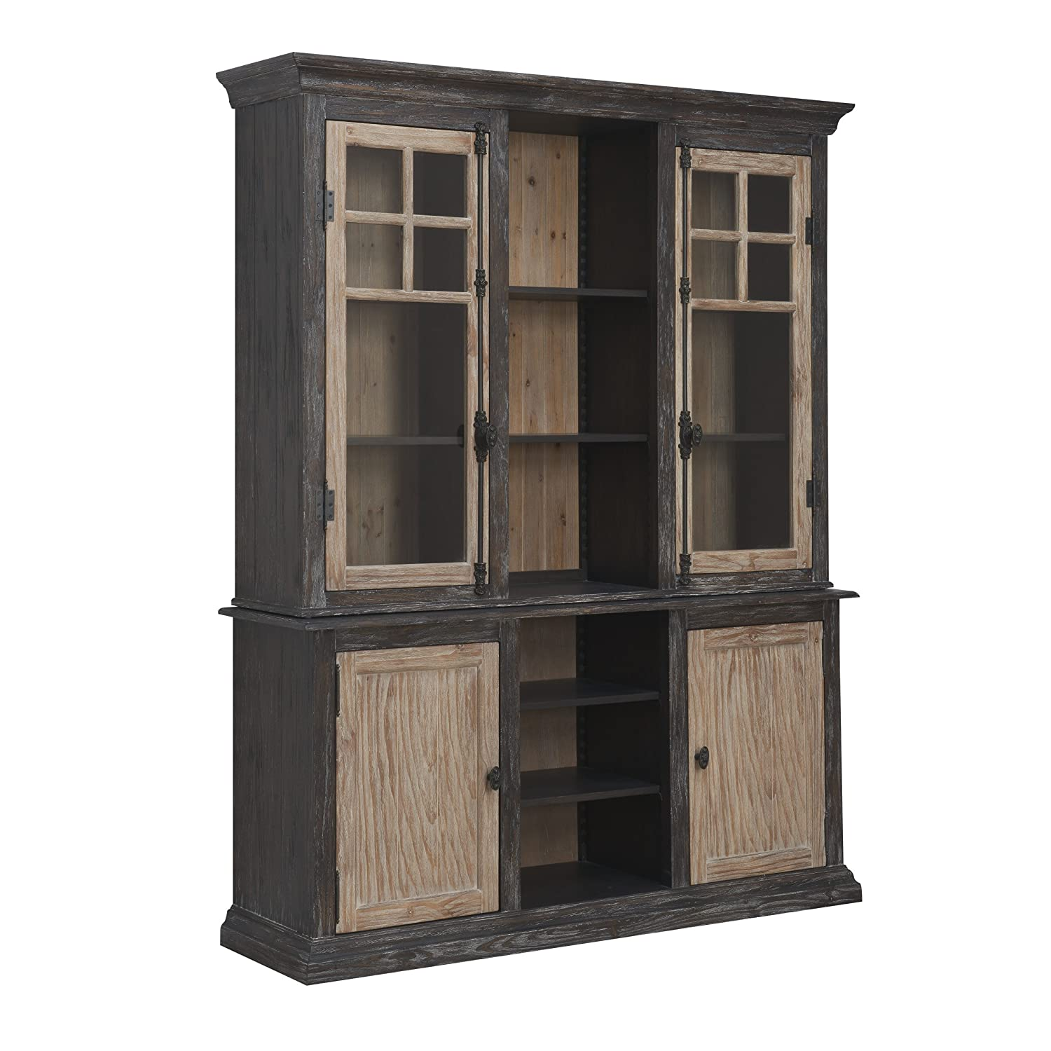 Captivating Amazon.com   Emerald Home Barcelona Dark Brown And Rustic Pine Hutch With  Glass Doors And Display Shelves   Tables