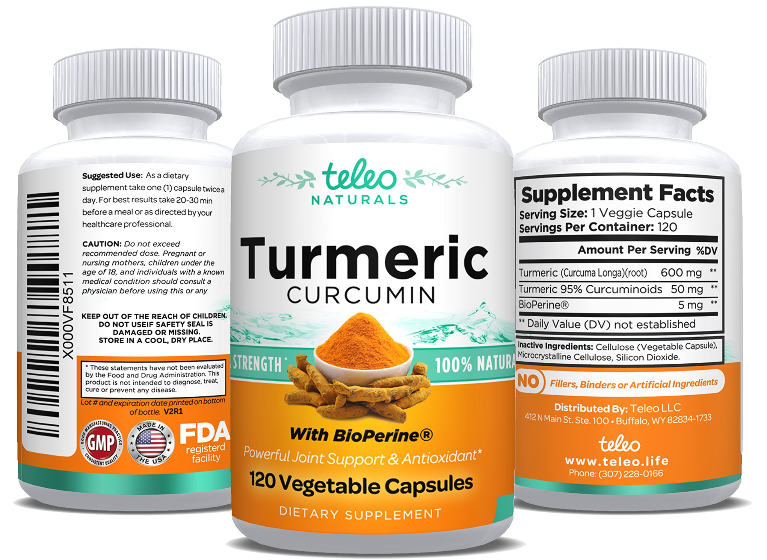 100% Pure Extra Strength All Natural Turmeric Curcumin with BioPerine Pain Relief & Joint Support No Fillers High Absorption Premium 2 Month Supply Turmeric Capsules with Black Pepper