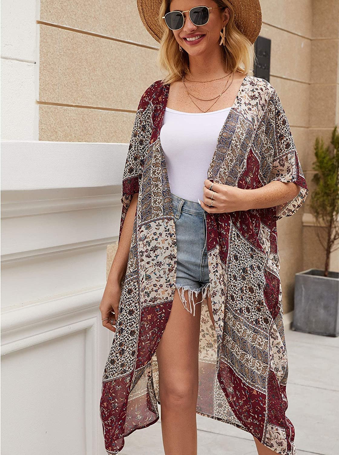 Naivikid Womens Floral Print Kimono Sheer Chiffon Loose Cardigan Casual Open Front Cover up S-3XXL