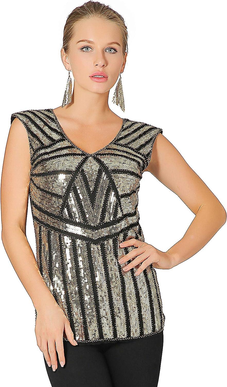 Metme Women V Neck Slight Loose Flashy Sequin Sparkly Vest Tops Tank Tops