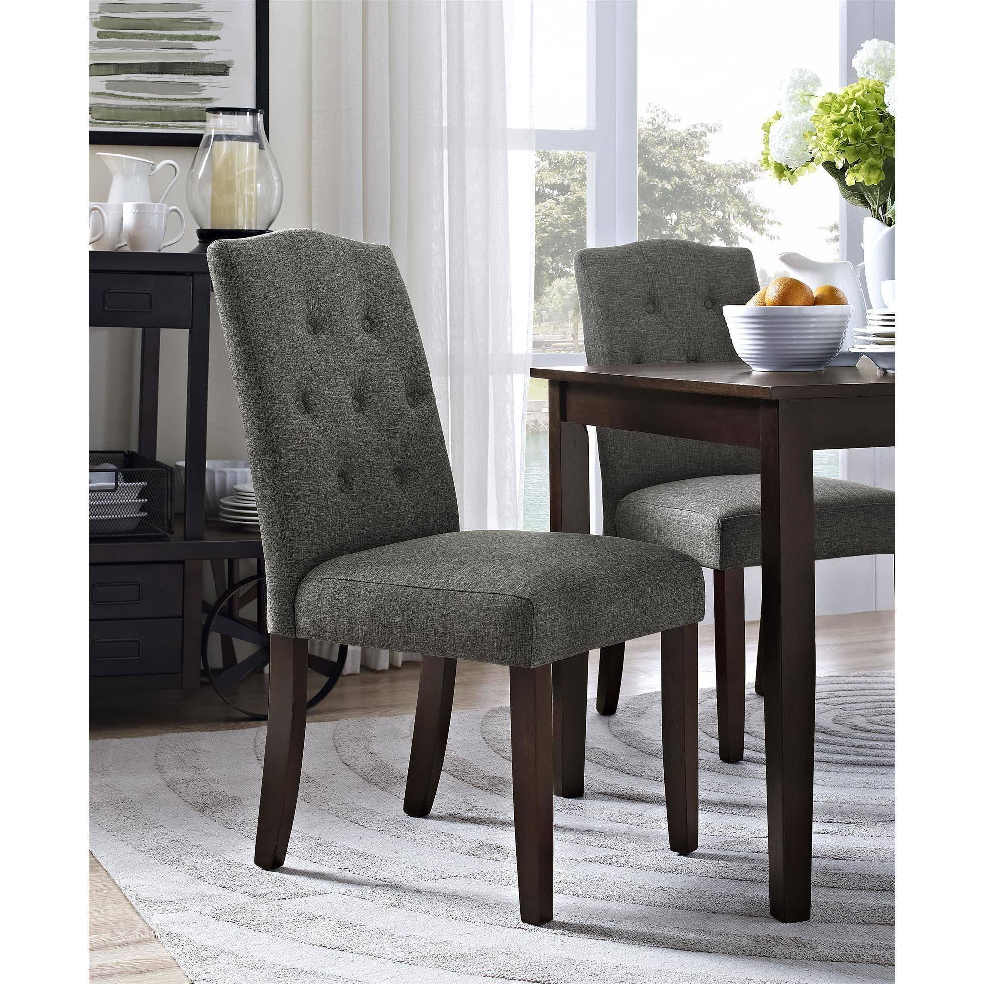 Better Homes and Gardens Parsons Tufted Dining Chair (Gray)