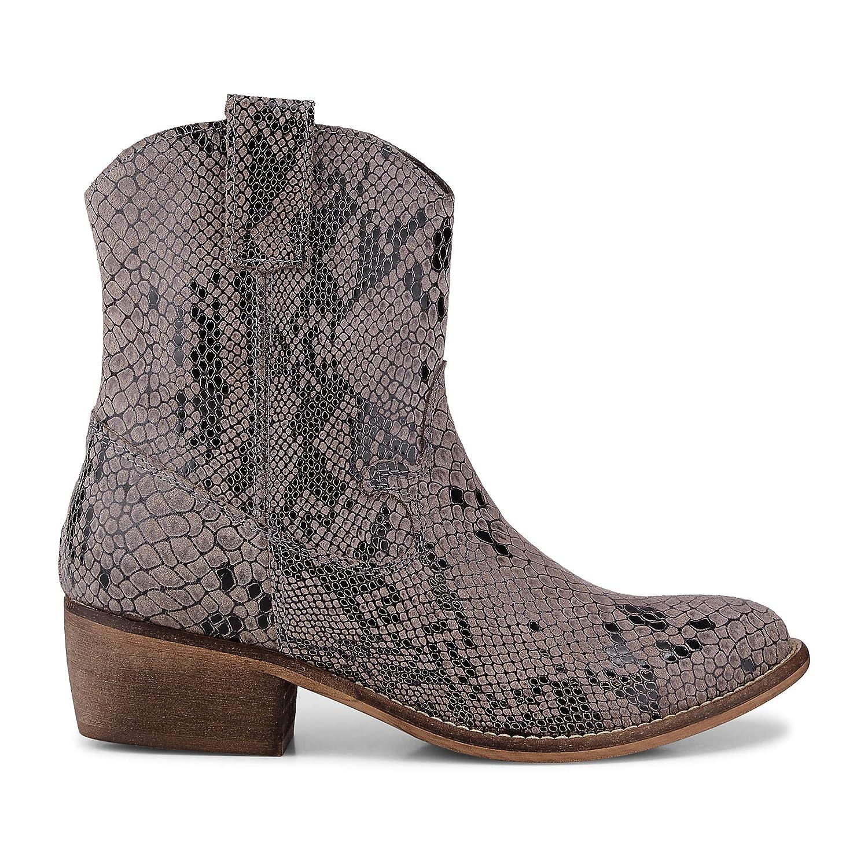 Cox Damen Western-Stiefel aus Leder, Stiefeletten in Grau im Schlangenleder-Design