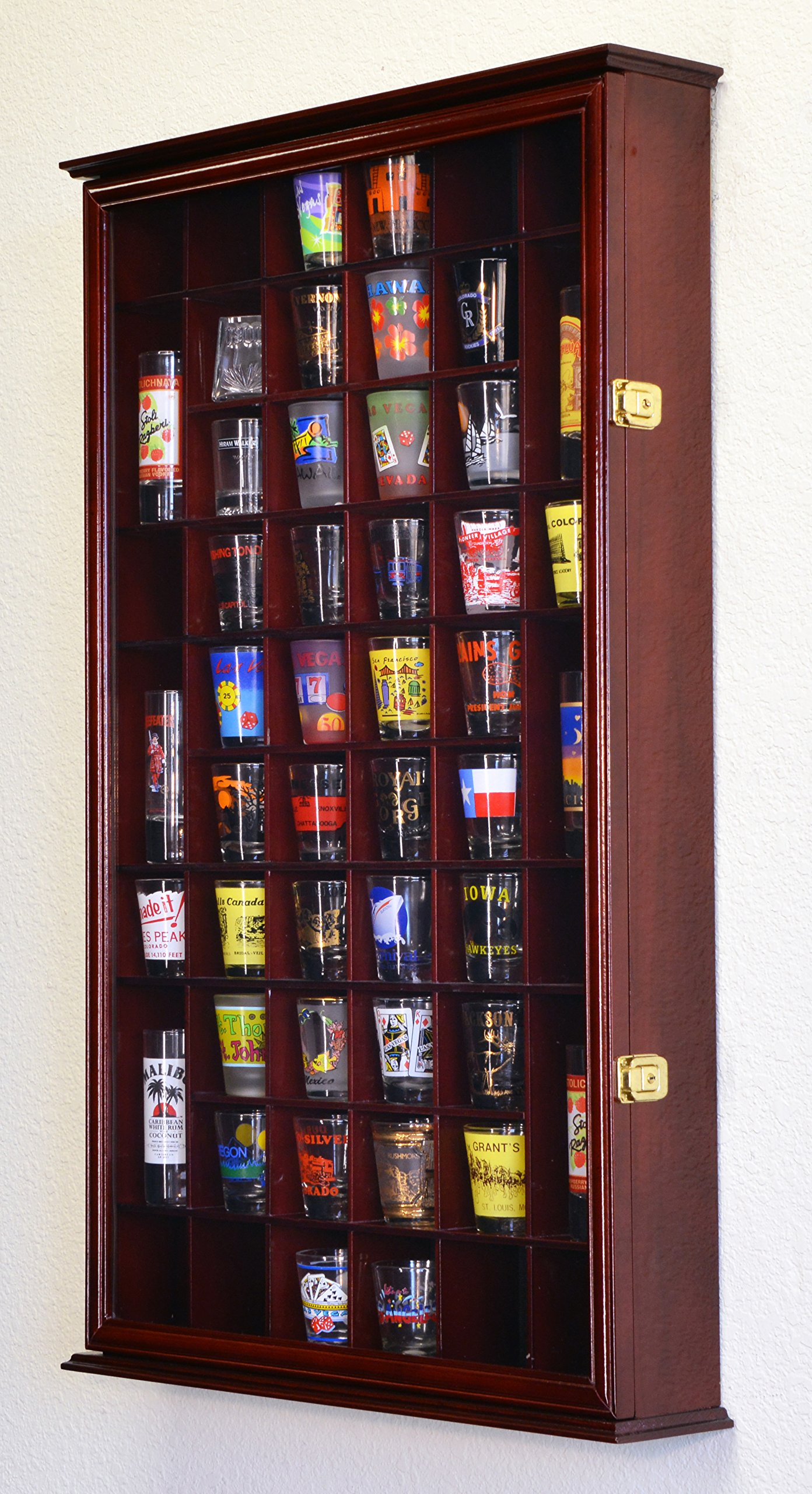 54 Shot Glass Shooter Display Case Holder Cabinet Wall Rack w/ UV Protection -Cherry by sfDisplay.com, Factory Direct Display Cases (Image #3)