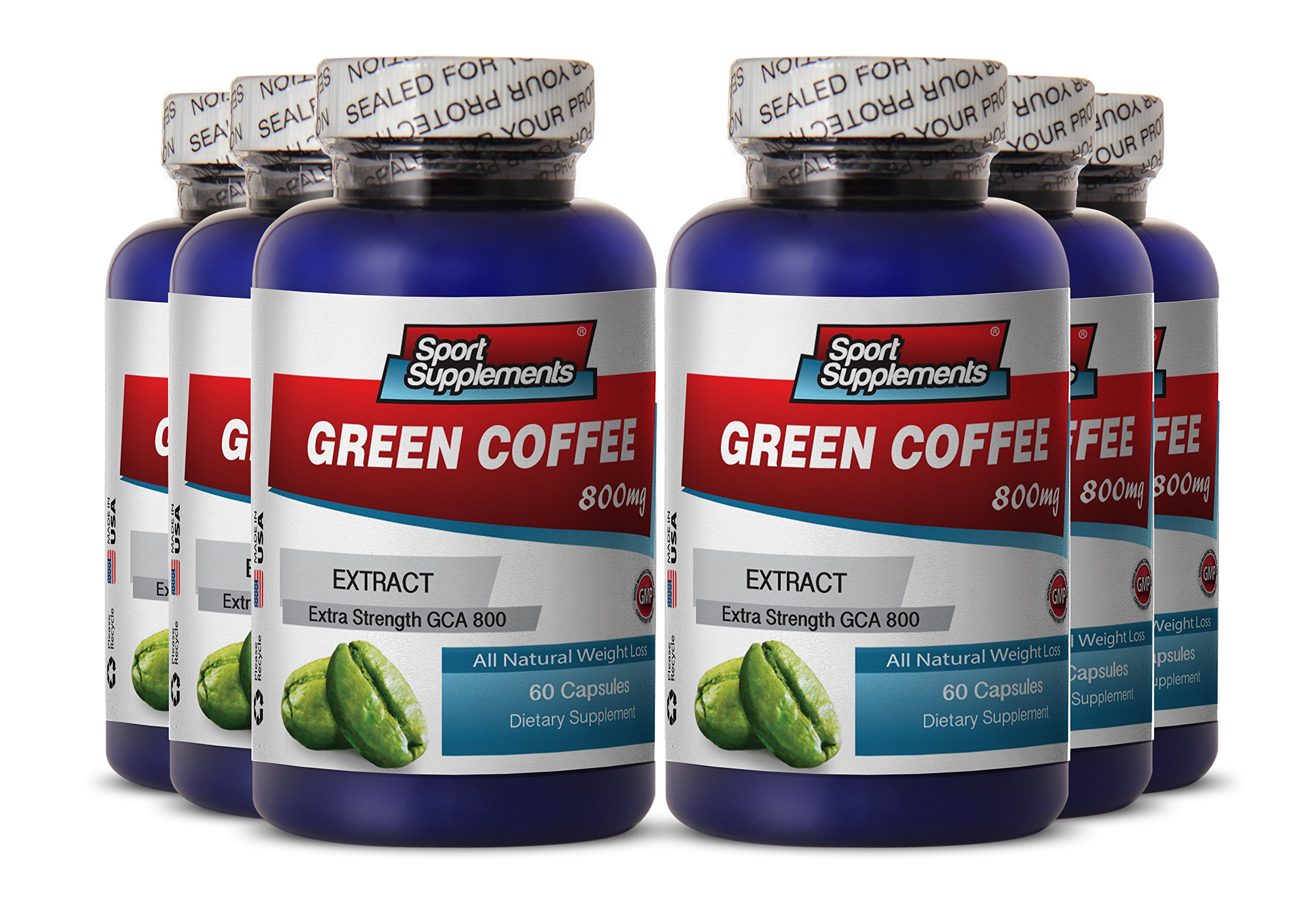 Green Coffee Bean - Green Coffee Extract 800mg - Natural Antioxidant Green Coffee Bean Extract to Burn Fat and Energy (6 Bottles 360 Capsules)