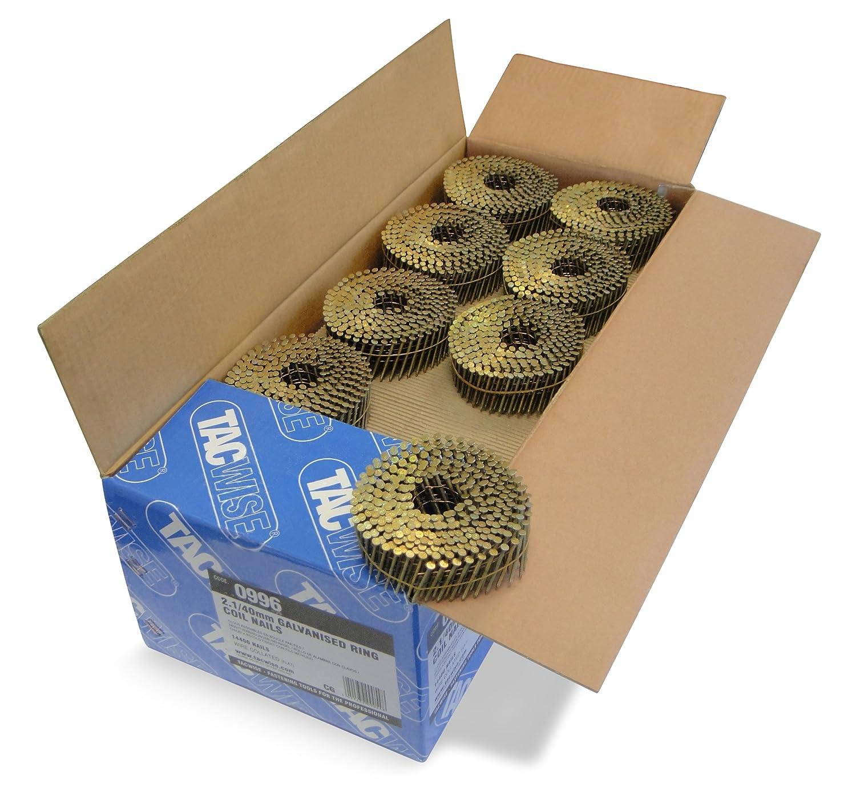 Tacwise 0996 Boîte de 14400 Clous à tête plate annelés galvanisés en rouleau 40 mm