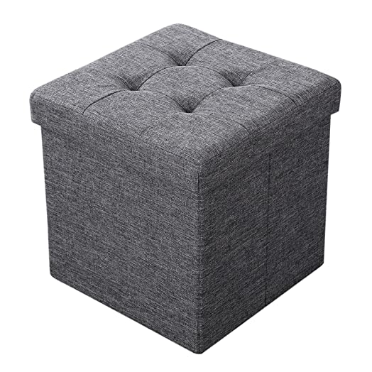 Songmics Storage Ottoman Box Seat Folding Foot Stool Linen Fabric dark gray 38 x 38 x  sc 1 st  Amazon UK & Songmics Storage Ottoman Box Seat Folding Foot Stool Linen Fabric ... islam-shia.org