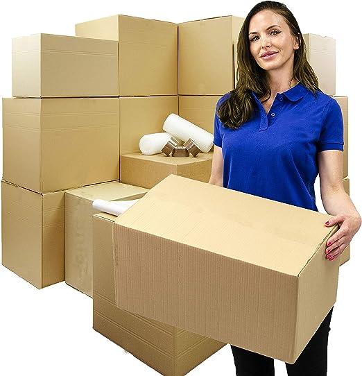 10 cajas de cartón para mudanza, tamaño mediano, resistente, 457 x 305 x 305 mm, 1 rollo de papel de burbujas de 500 mm x 10 m, cinta de embalaje fuerte, entrega