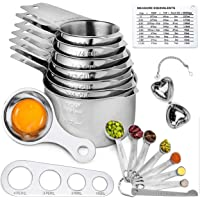 Cookson Stainless Steel Measuring Cups and Spoons Set of 21 Pieces - Professional Durable Kitchen Measuring Set for…