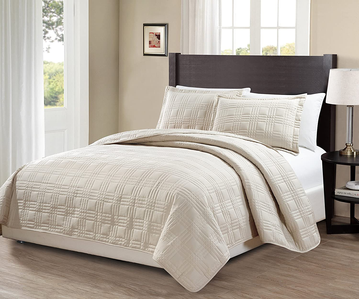 king california king over size 3 pc bedspread bed cover quilted embroidery beige ebay. Black Bedroom Furniture Sets. Home Design Ideas