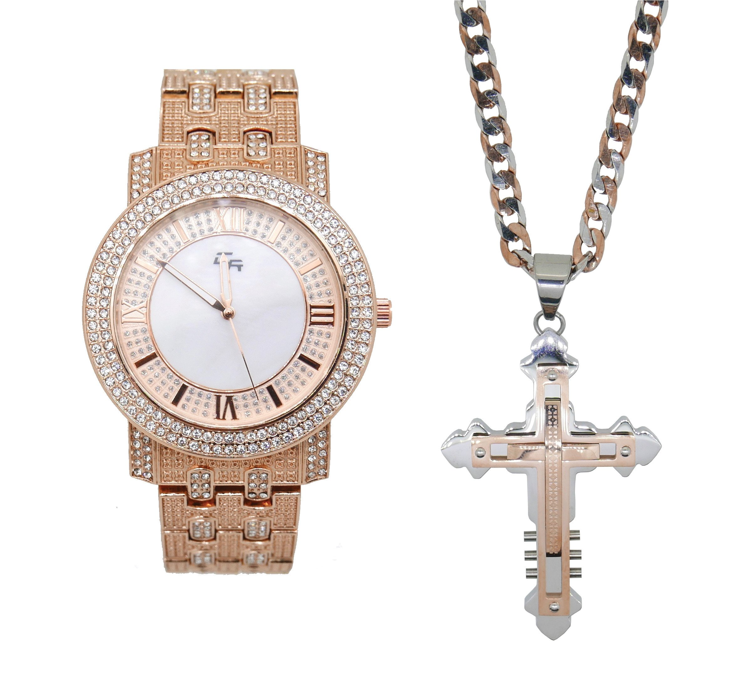 Iced Out Thick Rich Hip Hop Bling Mens Rose Gold Watch with Stainless Steel Jesus Pendent Necklace - L0131-GCR20 Rose Gold