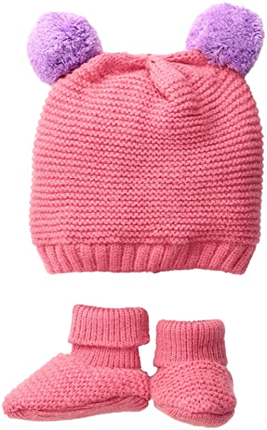 0e25bb56f89 Amazon.com  Toby   Company Baby Nygb Double Pom Garter Stitch Hat   Bootie  2 Pc Set