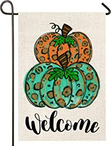 Atenia Welcome Fall Pumpkins Burlap Garden Flag, Double Sided Pumpkin Garden Outdoor Autumn Yard Flags (Garden Size - 12.5X18)
