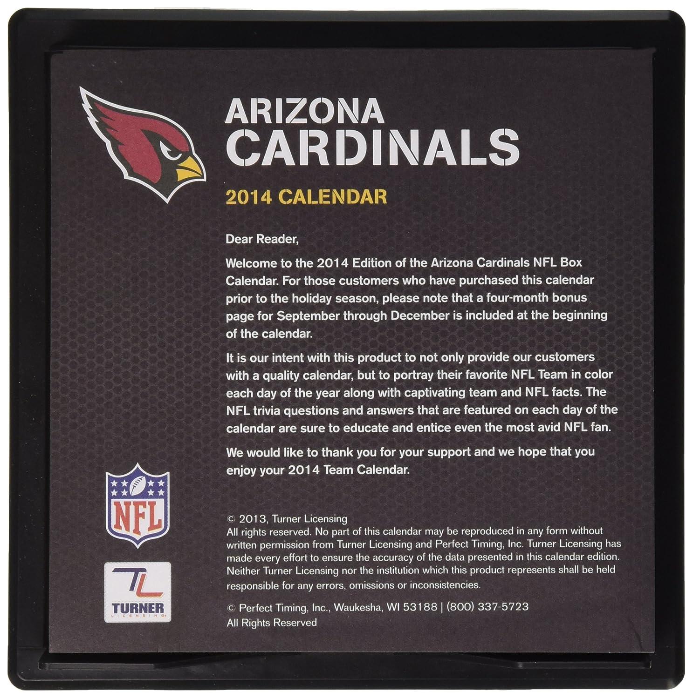 Perfect Timing 2014 Arizona Cardinals Box Calendar 8051246 Turner