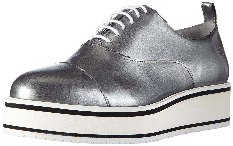 BronxBvinoX - Zapatos Planos con Cordones Mujer, Color Plateado, Talla 39