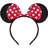 Haarreifen in schwarz mit Maus Ohren Minnie Mouse mit Schleife in rot mit weißen Punkten für Kinder & Erwachsene