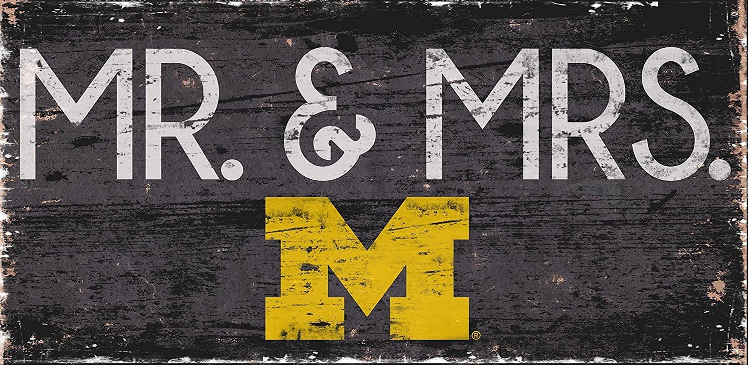 Michigan Wolverines Mr. & Mrs. ' 6x12' Wooden Sign Fan Creations
