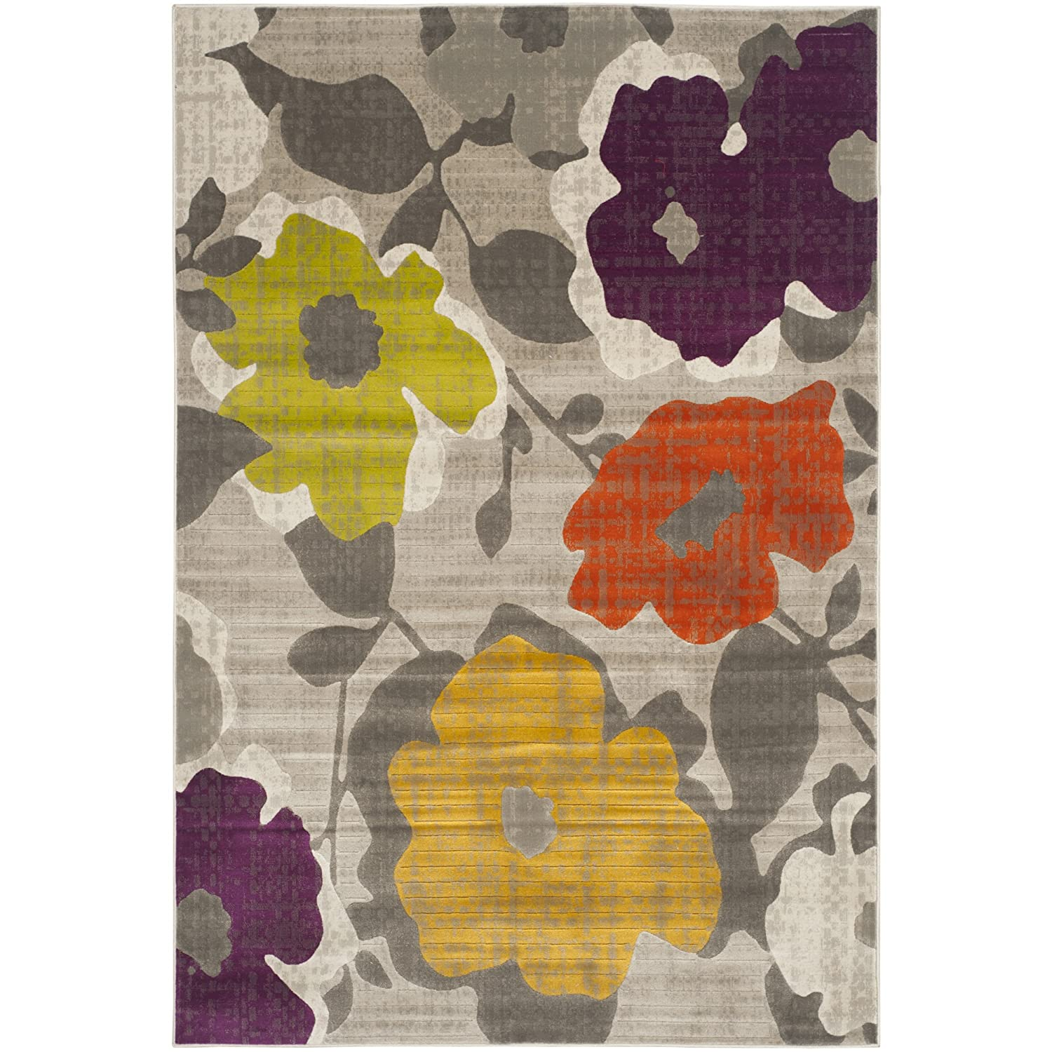 amazoncom safavieh porcello collection prl7726c grey and yellow area rug 6u0027 x 9u0027 kitchen u0026 dining